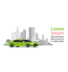 New car over silhouette city buildings background vector