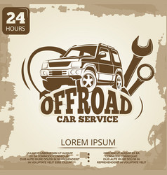 Off-road car service vintage poster design vector