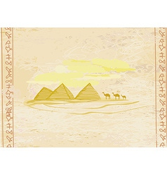 old paper with pyramids giza vector image vector image