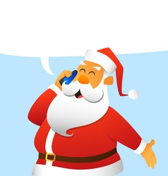 Santa claus talking on a cell phone vector