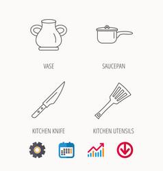 Saucepan kithcen knife and utensils icons vector