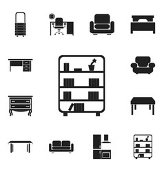 set of 12 editable furniture icons includes vector image vector image