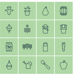 Set of 16 farm icons includes bush pot root vector