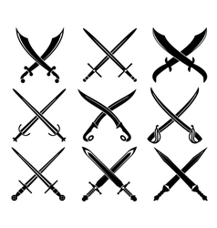 Set of heraldic swords and sabres vector image vector image
