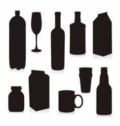 silhouettes drink containers vector image