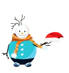 Snowman with red hat and orange scarf vector