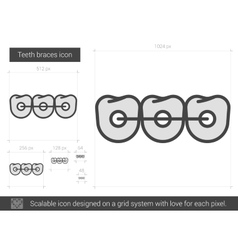 Teeth braces line icon vector