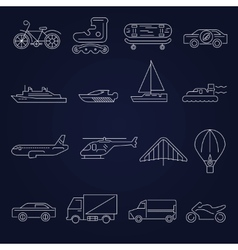 Transport icons outline set vector image vector image
