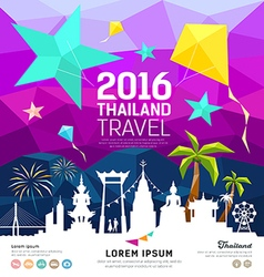 Travel thailand new year with silhouette landmark vector