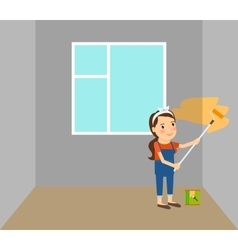 Woman making repairs in home vector
