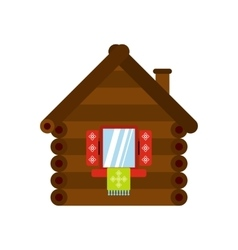 Wooden house icon flat style vector