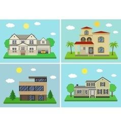 Cottage house building set flat design style vector
