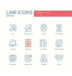 Office - flat design line icons set vector