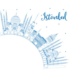 Outline istanbul skyline with blue landmarks vector