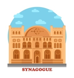 Synagogue or synagog architecture building vector
