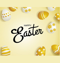 Happy easter typography  gold background eggs vector