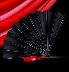 Black fan red drape and and petals vector