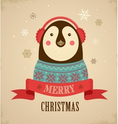 Christmas background with hipster penguin vector