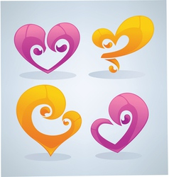 bright hearts vector image