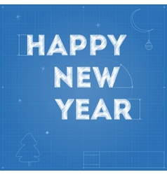 Card of new year blueprint drawing vector
