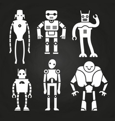 White robots and cyborgs on chalkboard vector