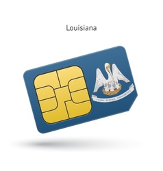 State of louisiana phone sim card with flag vector
