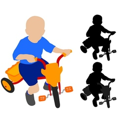 Child riding tricycle vector