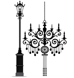 Black chandelier vector
