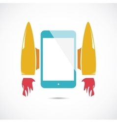 Cartoon rocket with mobile phone vector