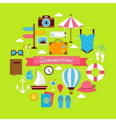 Flat style summertime travel concept vector