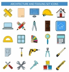 Architecture and tooling set icons vector