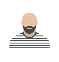 Bearded man in prison garb flat vector