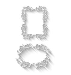 Elegant paper retro floral frame set  hand drawn vector