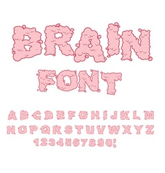 Brain font letters from central department human vector