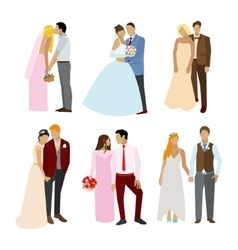 Just married couples in different poses and dress vector