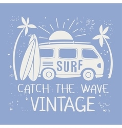 Surfing with van and text vector