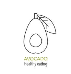 avocado line icon healthy eating vector image vector image