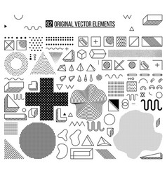 black and white elements set vector image