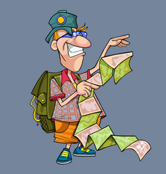 cartoon funny tourist with backpack vector image vector image