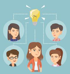 Caucasian business women discussing business idea vector
