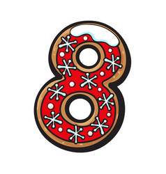 christmas gingerbread cookie - eight 8 number vector image