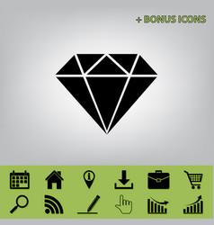 Diamond sign black icon at vector