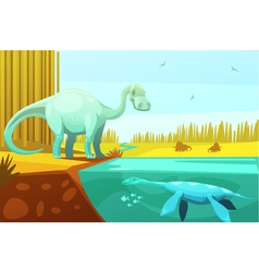 Dinosaurus and turtle vintage cartoon vector