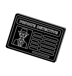 Documents of a private detective card that shows vector
