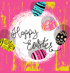 Easter eggs in nest bright colors easter vector
