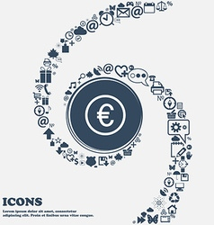 Euro icon sign in the center Around the many vector image vector image
