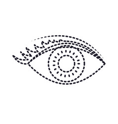 eye with eyelashes in monochrome silhouette dotted vector image