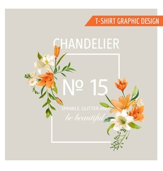 Floral Frame Graphic Design - Summer Lily Flowers vector image