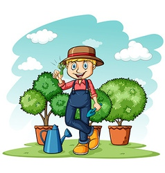 Gardener showing his thumb vector image
