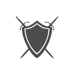Grey icon of shield and two crossed swords vector